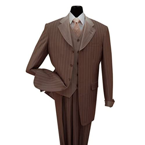 Men's 3 piece Luxurious Classic Gangster Pinstripe Wool Feel Suit 2911