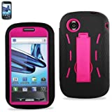 Black Hot Pink Hard Cover Case Silicone Case with Kick Stand for ZTE Avail Z990 At&t Dual Layer Kickstand Hybrid Case