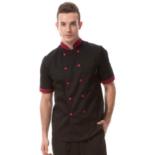 chefs-apparel-unisex-short-sleeve-black-w-red-chef-jacket-basical-chef-uniform-813645-6-sizes-availa