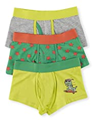 3 Pack Cotton Rich Surfing Dinosaur Trunks