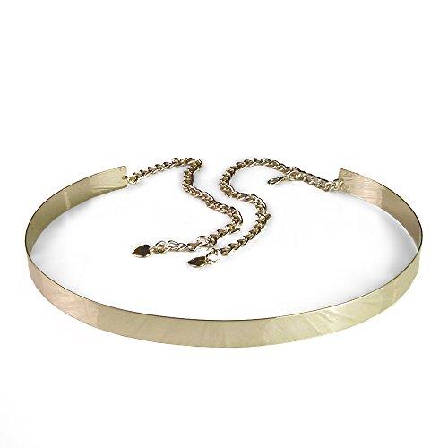 Cocobla Womens Lady Full Metal Mirror Waist Belt Wide Obi