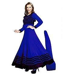 Ethnicbasket Girls Net Dress Material (212C _Blue _Medium)