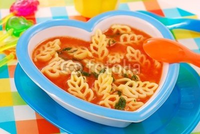 Wallmonkeys Peel and Stick Wall Decals - Tomato Soup with Pasta for Child - 24