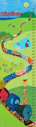 Oopsy Daisy Fine Art for Kids Choo Choo Train Growth Chart by Jenny Kostecki-Shaw, 12 by 42-Inch