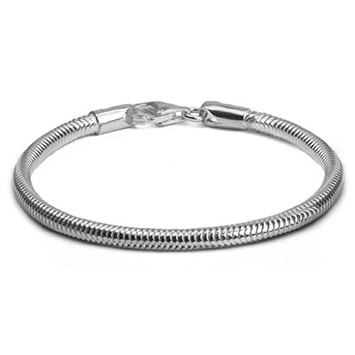 Catena Serpente in argento Sterling, 3 mm, argento, colore: Grey, cod. snake3mm18cm