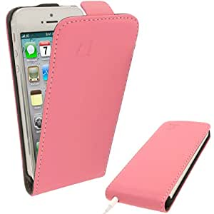 iGadgitz Pink PU Leather Flip Case Cover Holder for New iPhone 5 & 5S Mobile Phone 4G LTE + Screen Protector (Not suitable for iPhone 5C)
