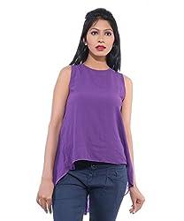 Avakasa Polyester Purple Solids Partywear Sleeveless Sleeves Top (top-14-purple)