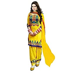 Awesome Fab Yellow Colour Mix Cotton Embroidered Unstitched Dress Material