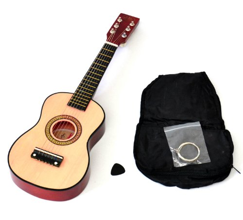 Ts-Ideen 5202 Children's Toy Guitar Wooden for Age 3 Years and Above with Bag and Replacement Strings 59 cm Natural / Auburn