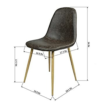 GreenForest Dining Side Chairs Washable Pu Cushion Seat Metal Legs for Dining Room Chairs Set of 2 ,Black(Buy 2 Chairs,Get 1 Free Chair)