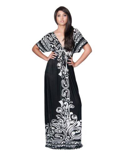 Koh Koh Women's Elegant Sexy V-Neck Kimono Retro Print Cocktail Evening Maxi Dress – Large – White