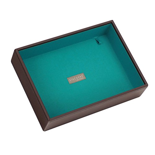Stackers Jewellery Box | Classic Chocolate Brown & Bright Teal Deep Stacker