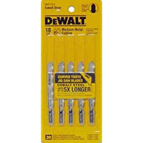 DEWALT DW3774-5 3-Inch 18TPI Medium Metal Cut Cobalt Steel T-Shank Jig Saw Blade (5-Pack)