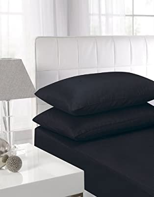 Affinity Soft Touch Fitted Sheet Black Double Bed by Textiles Direct