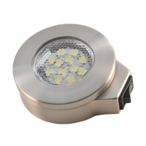 12 Volt Bright White Led, Surface Mount Switched Brushed Nickel Light