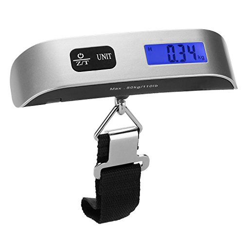 [Backlight LCD Display Luggage Scale]Dr.meter 110lb/50kg Electronic Balance Digital Postal Luggage Hanging Scale with Rubber Paint Handle, Temperature Sensor, Silver/Black