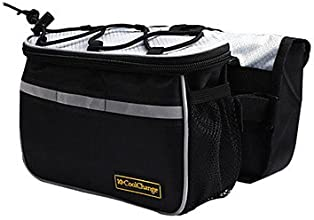 Outdoor 4-In-1 Bicycle Black Front Tube Bag with Rain Cove