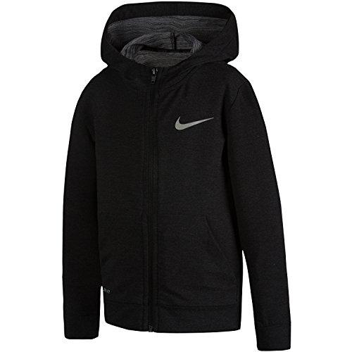 Nike Little Boys' Training Fleece Full Zip Jacket(Black Heather, 7)