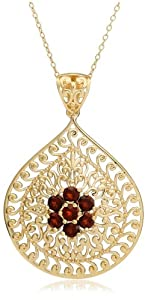 Yellow Gold Plated Sterling Silver Garnet Flower Pendant, 18
