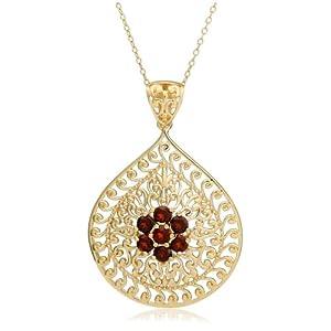 yellow gold plated sterling silver garnet flower pendant