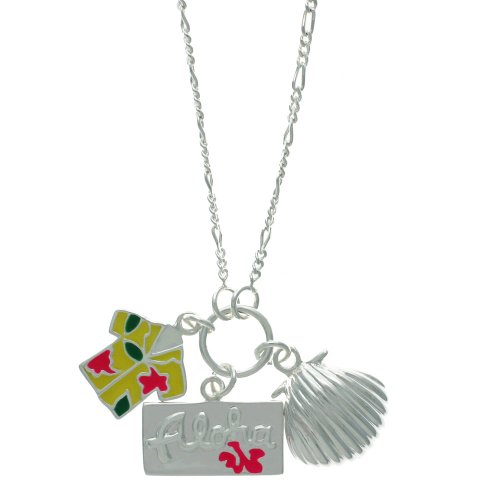 Sterling Silver Hawaii Destination Multi-Charm Pendant, 18
