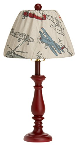 "Glenna Jean Fly-By Lamp, Red Base with Airplane Shade, 9"" x 12"" x 24"""
