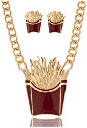 Goldtone Food Style Pendant w/ 18 Inch Cuban Chain Necklace and Matching Stud Earrings - 4 Options Available