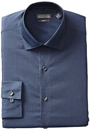 Kenneth Cole Reaction Men's Slim Fit Chambray Dress Shirt, Blue, 14.5 32-33