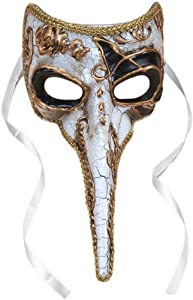 Loftus Long-Nosed Black & White Venetian Adult Mask - One Size Fits Most