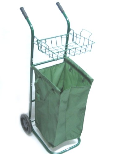 PORTABLE GARDEN CART w. Wheels + Removable Leaf Bag