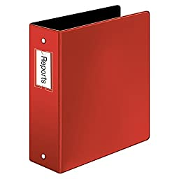 Cardinal Premier Easy Open Locking Round Ring Binder, 3-Inch, Red with Label Holder  (18848)