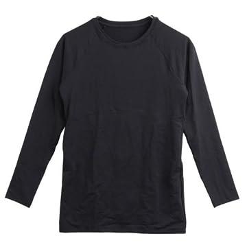 【限界価格★挑戦中】【NANOMIX(ナノミックス)】メンズ メタボ改善ウェア シンプル無地長袖Tシャツ(ブラッ