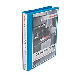 Universal Deluxe Round Ring View Binder, 1 Capacity, Light Blue (20713)