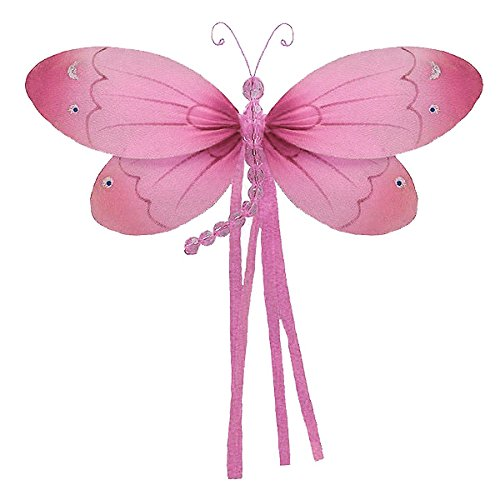 "The Butterfly Grove Riley Dragonfly 3D Hanging Mesh Nylon Decor, Pink Carnation, Medium, 11"" x 7"""
