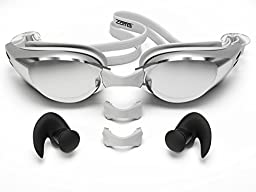 Zoma Swimming Goggles with Anti Fog Technology with Silicone Earplugs, Silver