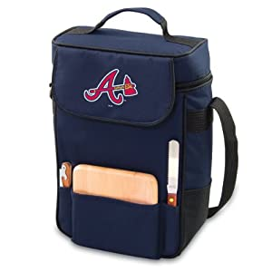 MLB Atlanta Braves Duet Insulated 2-Bottle Wine and Cheese Tote by Picnic Time