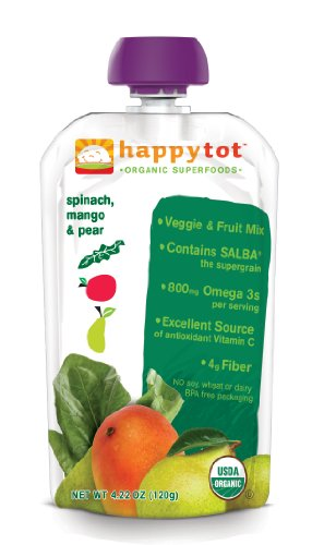 Happy Tot Organic Baby Food, Stage 4, Spinach,