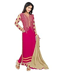 My online Shoppy Women's Georgette Unstitched Dress Material (My online Shoppy_126_Pink_Free Size)