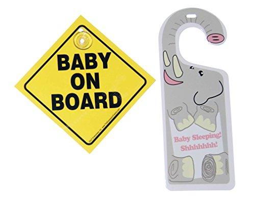 Baby on Board Plastic Car Sign & Baby Sleeping Elephant Door Hangar Set