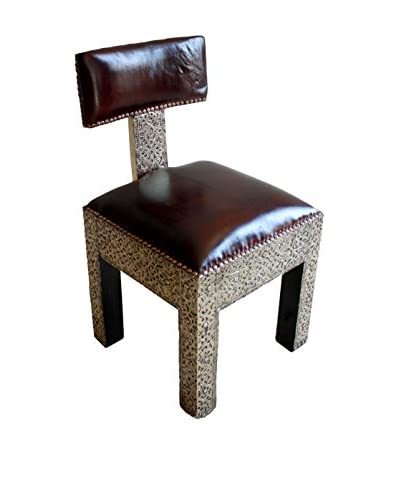 Badia Design Moroccan Metal And Faux Leather Chair, Brown/Silver