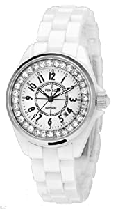 Fenlon Women's White Ceramic Link Bracelet Watches Silver Crystal Watch