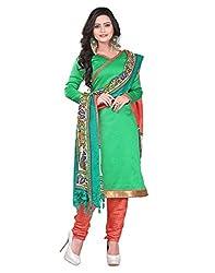 Lookslady Printed Green Silk Dress Material