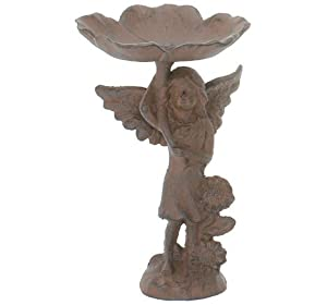 Cast Iron Angel Birdbath Garden Bird Bath Feeder Fairy
