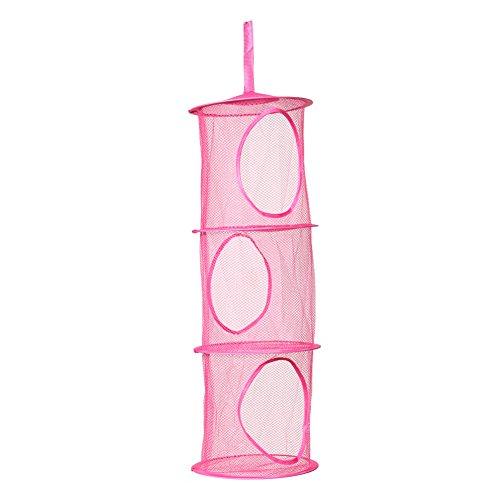 Demiawaking-3-Hngeregal-Net-Kinder-Spielzeug-Organizer-Tasche-Rosa