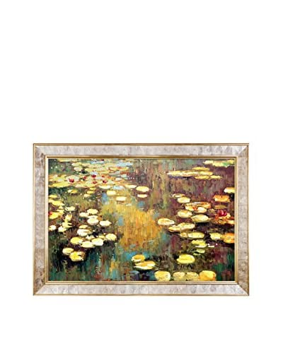 Claude Monet's Water Lilies Framed Hand Painted Oil on Canvas, Multi, 30″ x 42″