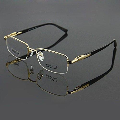 Gold 100% Pure Titanium Spectacles Men Glasses Optical Eyeglass Frame eyewear Rx