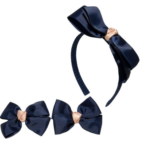 Little Miss Purple Set of Headband and Matching Ponytail (Pony) Holders for Kid Girls - Perfect for School - Navy / Beige