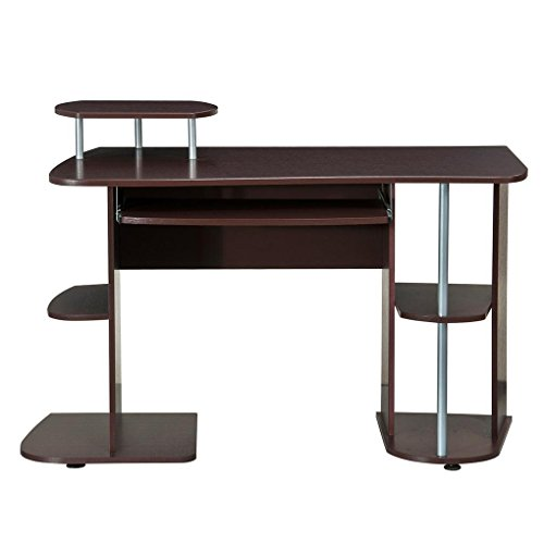 Complete Computer Workstation Desk With Storage. Color: Chocolate