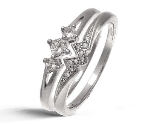 9ct White Gold 0.33ct Princess Cut Diamond Bridal Set Ring - Size P