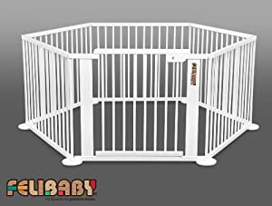 ONE4all 1+5w - Flexible safety gate, barrier, playpen (WHITE) from Felibaby